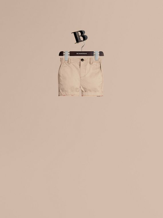 Check Detail Cotton Chino Shorts Taupe