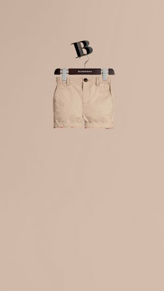 Check Detail Cotton Chino Shorts