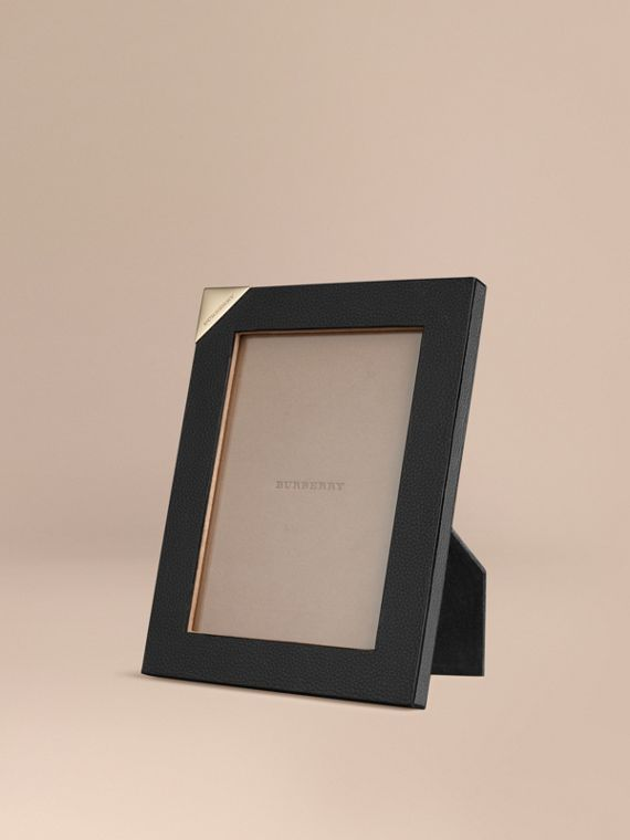 Medium Grainy Leather Picture Frame Black