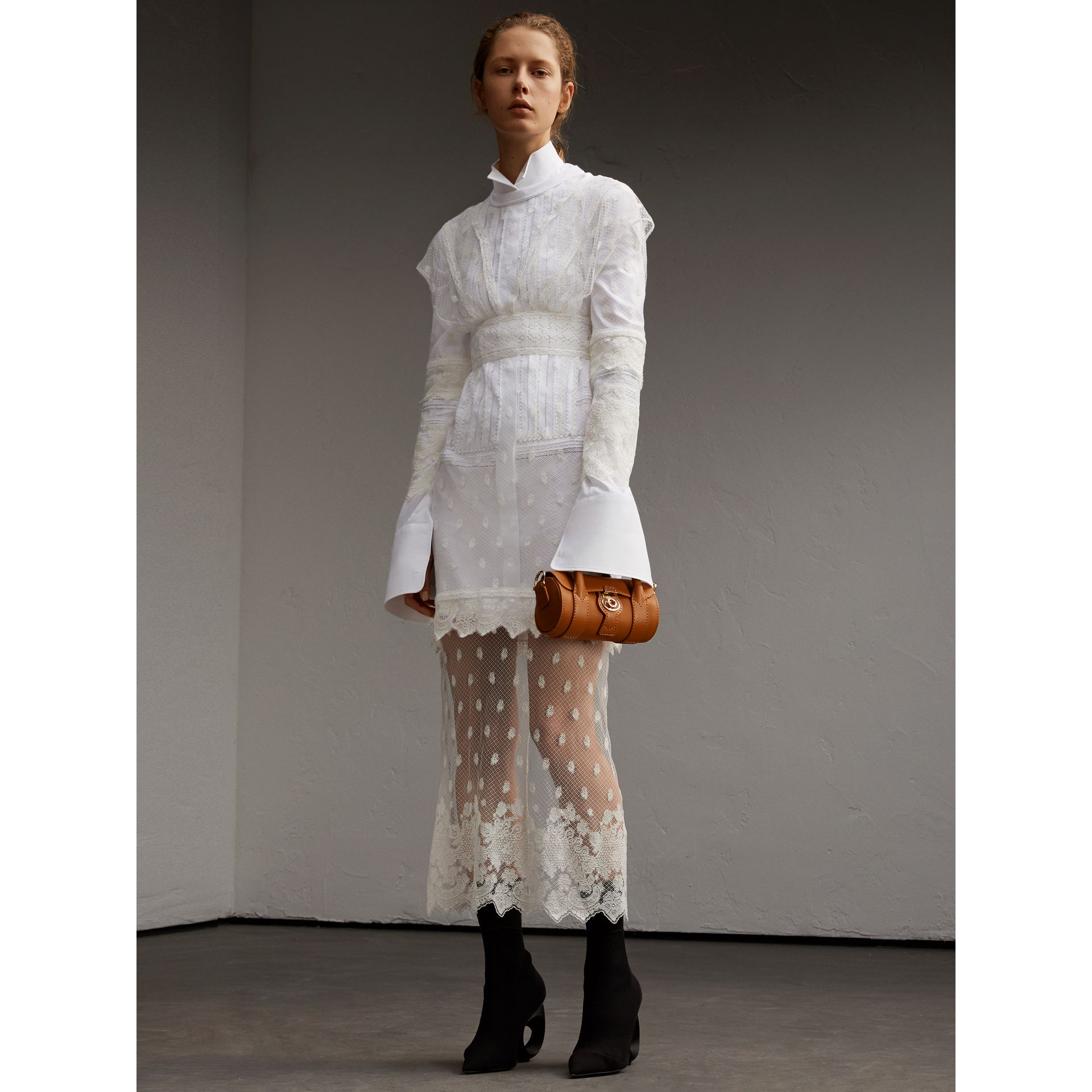 Embroidered Tulle and Cotton Shirt Dress in Off White - Women | Burberry - gallery image 6