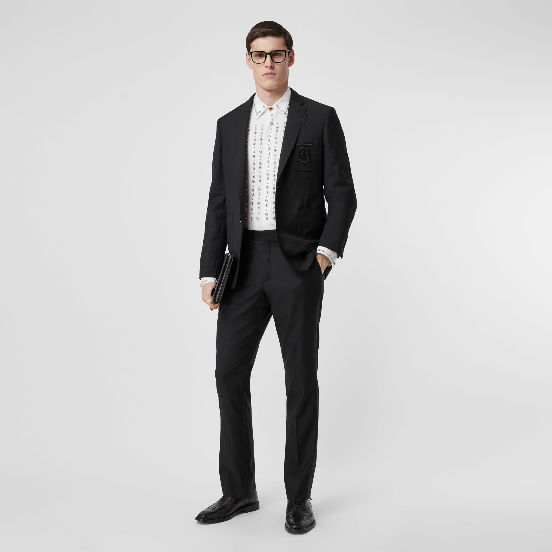 Slim Fit Monogram Motif Wool Mohair Tailored Jacket in Black - Men | Burberry - gallery image 0
