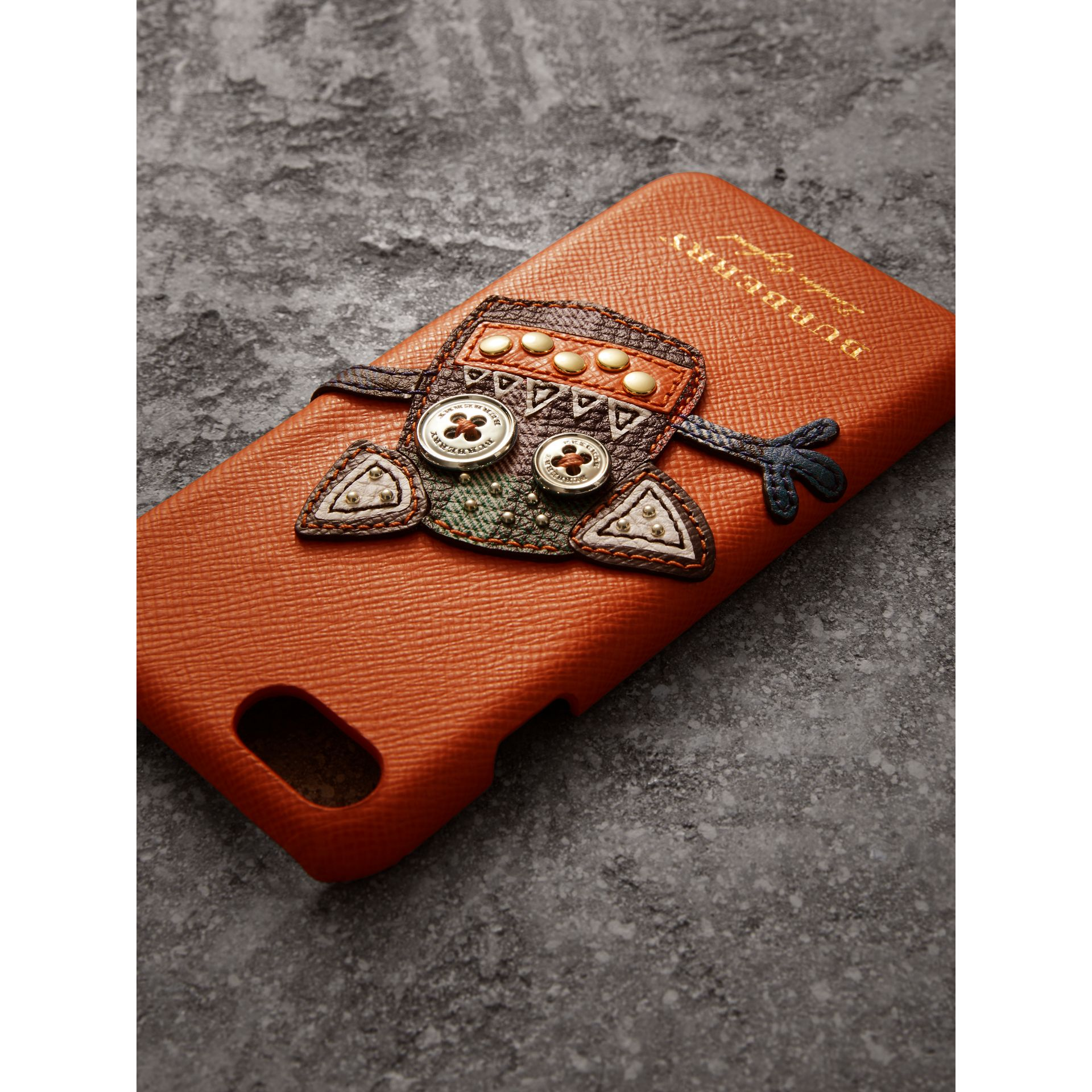 Creature Appliqué Leather iPhone 7 Case in Clementine - Men | Burberry - gallery image 1