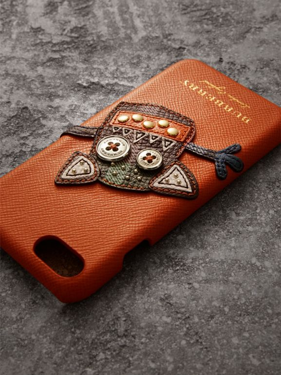 Creature Appliqué Leather iPhone 7 Case in Clementine | Burberry United Kingdom - cell image 1