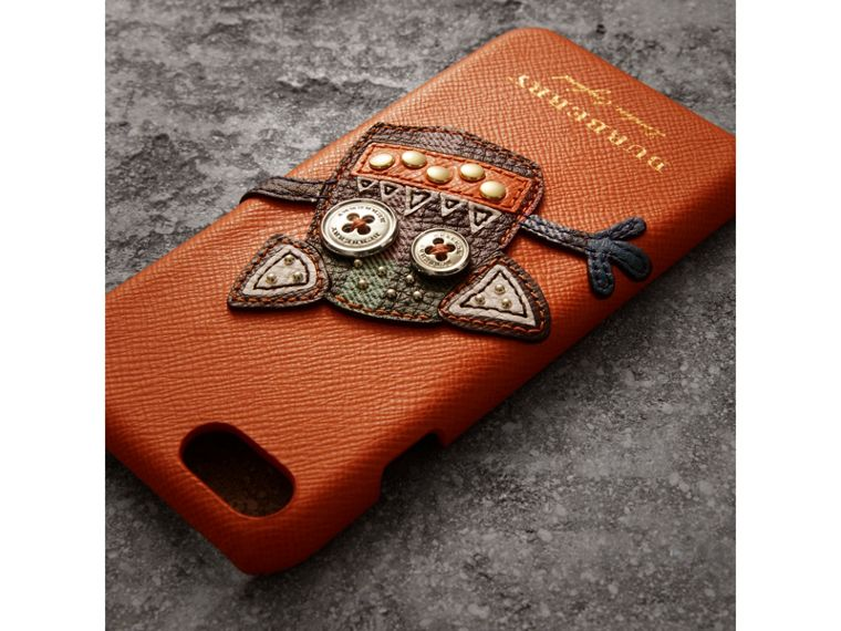 Creature Appliqué Leather iPhone 7 Case in Clementine - Men | Burberry - cell image 1