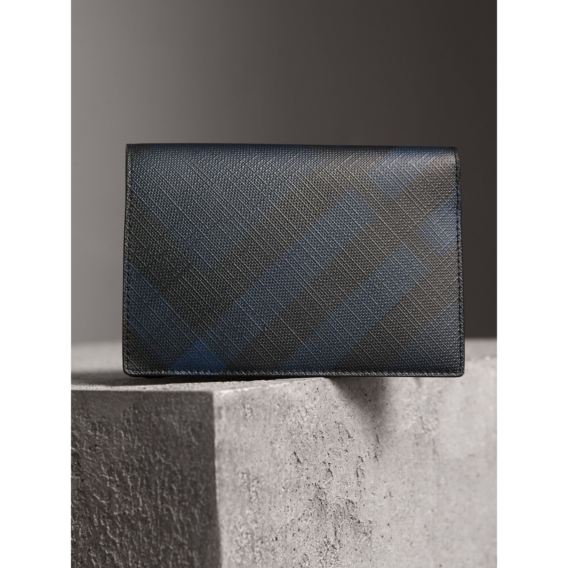 London Check and Leather Passport Holder in Navy/black - Men | Burberry Canada - gallery image 3
