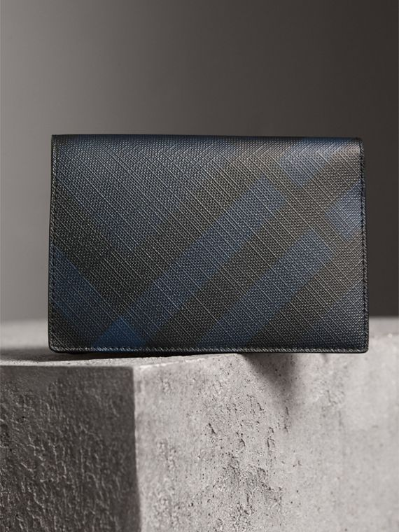 London Check and Leather Passport Holder in Navy/black - Men | Burberry Canada - cell image 2