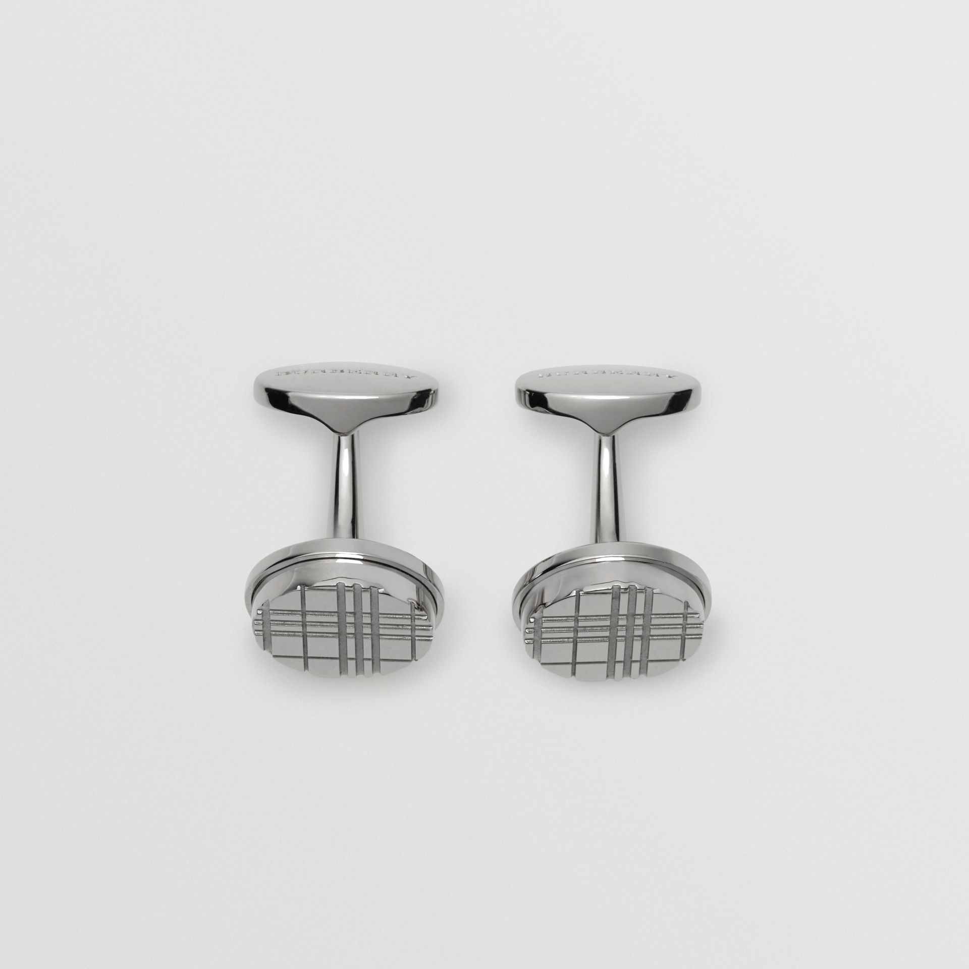 Check-engraved Round Cufflinks in Silver - Men | Burberry - gallery image 2