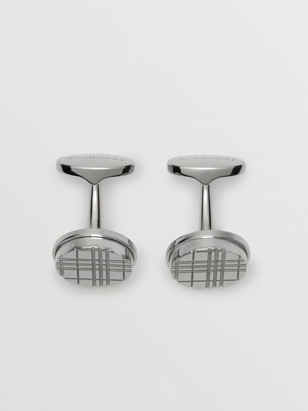 Check-engraved Round Cufflinks in Silver - Men | Burberry Hong Kong - cell image 2