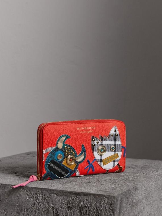 Brieftasche aus Leder im Karodesign mit witziger Applikation (Orangerot)