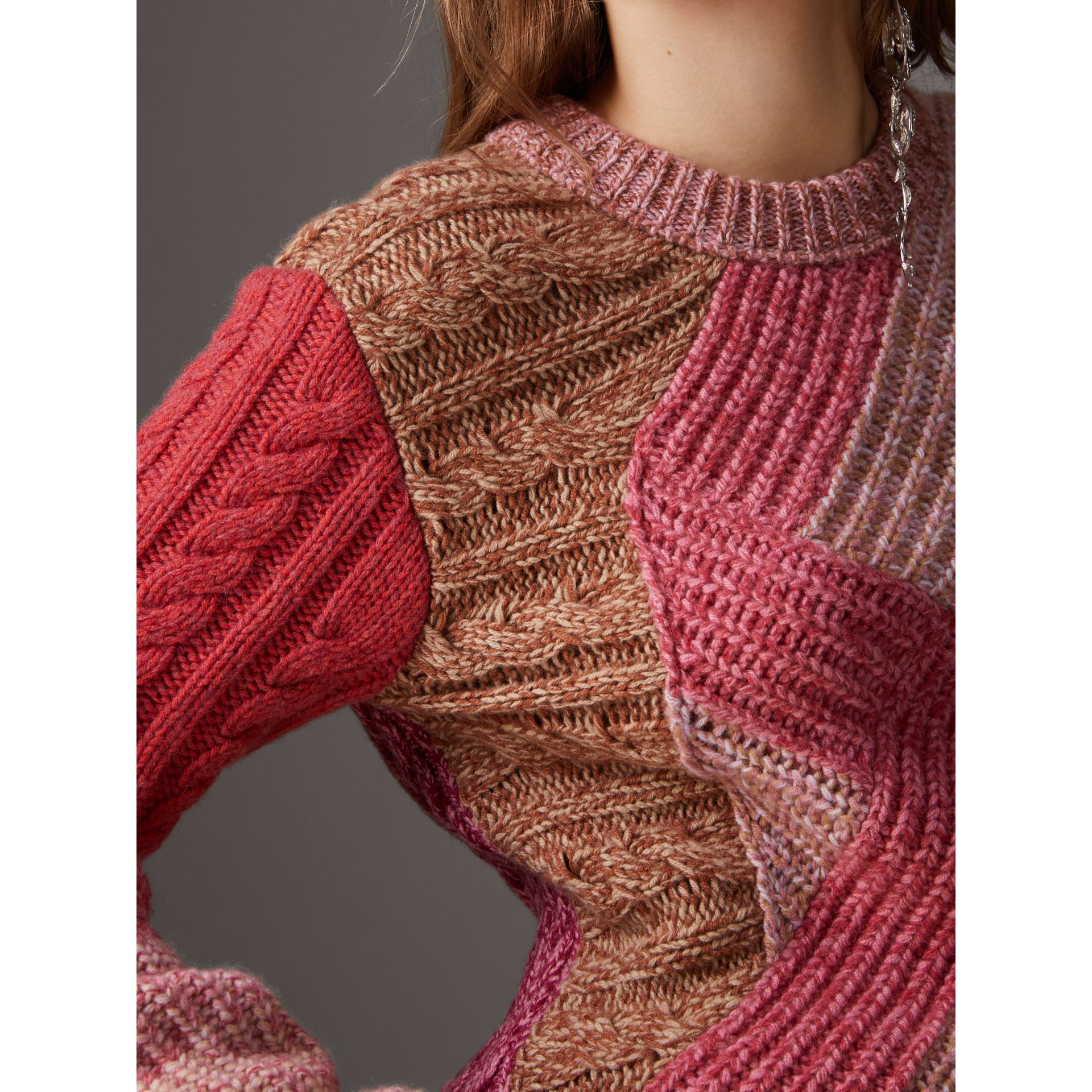 Cashmere-wool Mouliné  Patchwork Sweater in Multicolour - Women | Burberry Australia - gallery image 1