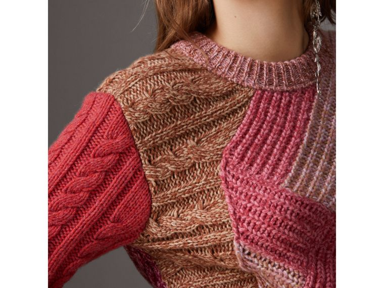 Cashmere-wool Mouliné  Patchwork Sweater in Multicolour - Women | Burberry - cell image 1