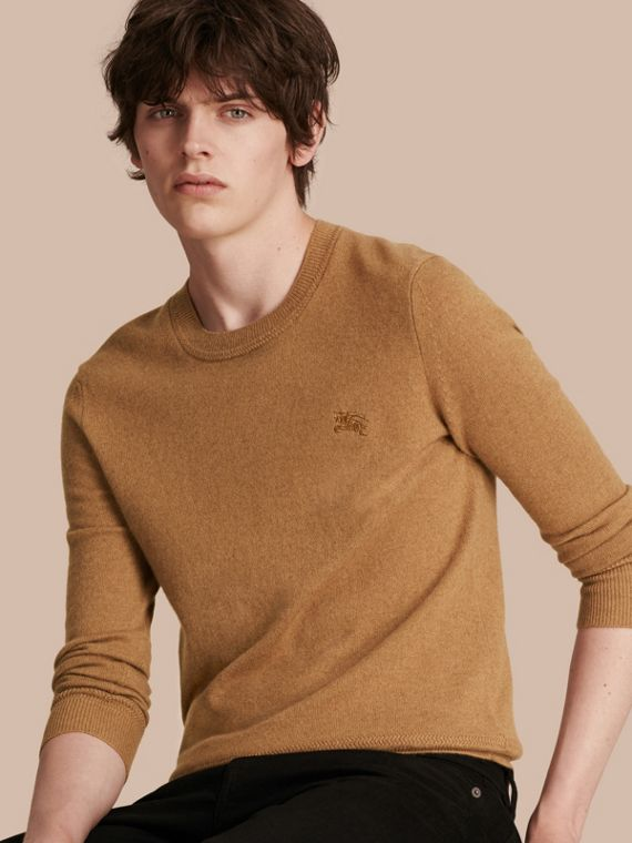 Crew Neck Cashmere Sweater Mid Camel