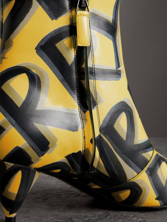 Graffiti Print Leather Ankle Boots in Vibrant Yellow - Women | Burberry - cell image 1