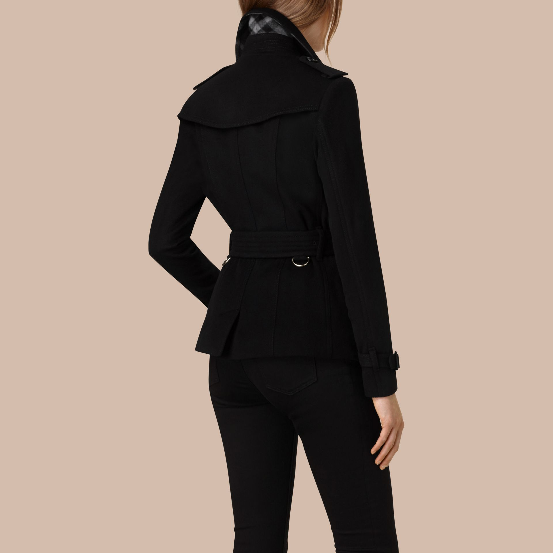 Black Wool Cashmere Trench Jacket - gallery image 2