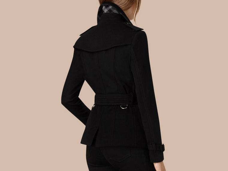Black Wool Cashmere Trench Jacket - cell image 1