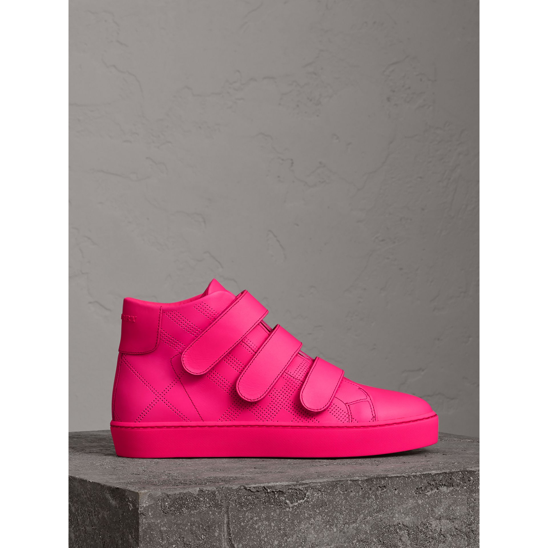 Perforated Check Leather High-top Trainers in Neon Pink - Women | Burberry - gallery image 3