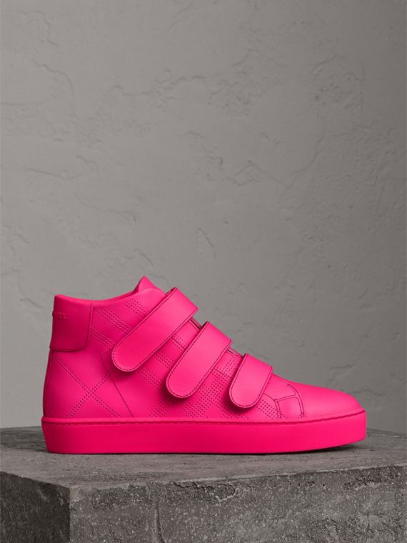 Perforated Check Leather High-top Trainers in Neon Pink - Women | Burberry - cell image 3