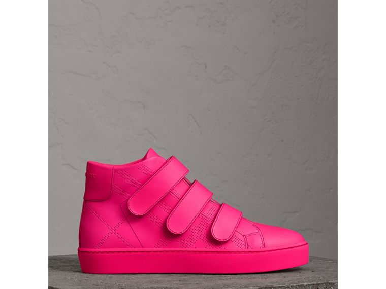 Perforated Check Leather High-top Sneakers in Neon Pink - Women | Burberry - cell image 4
