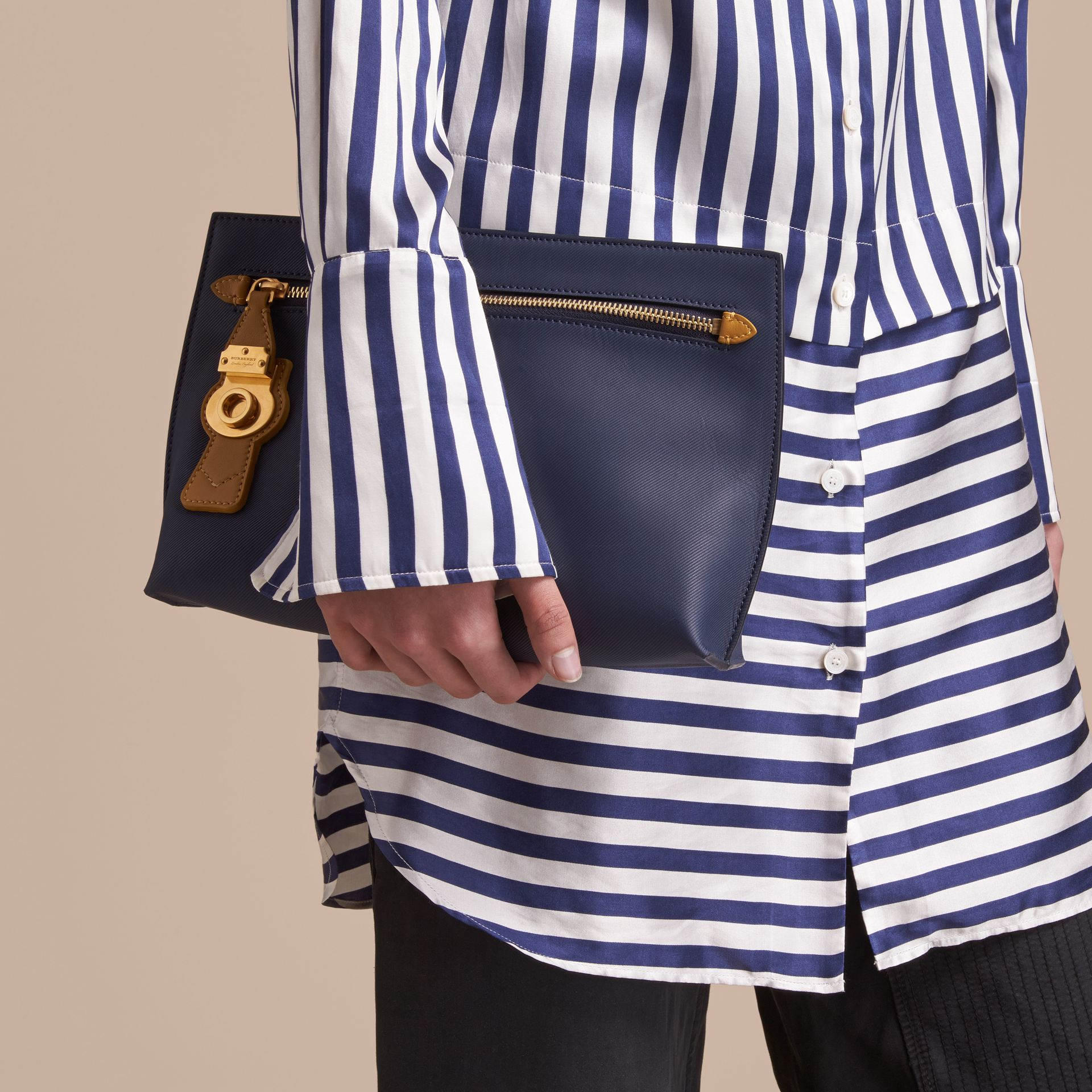 Two-tone Trench Leather Wristlet Pouch in Ink Blue/ochre Yellow - Women | Burberry Australia - gallery image 3