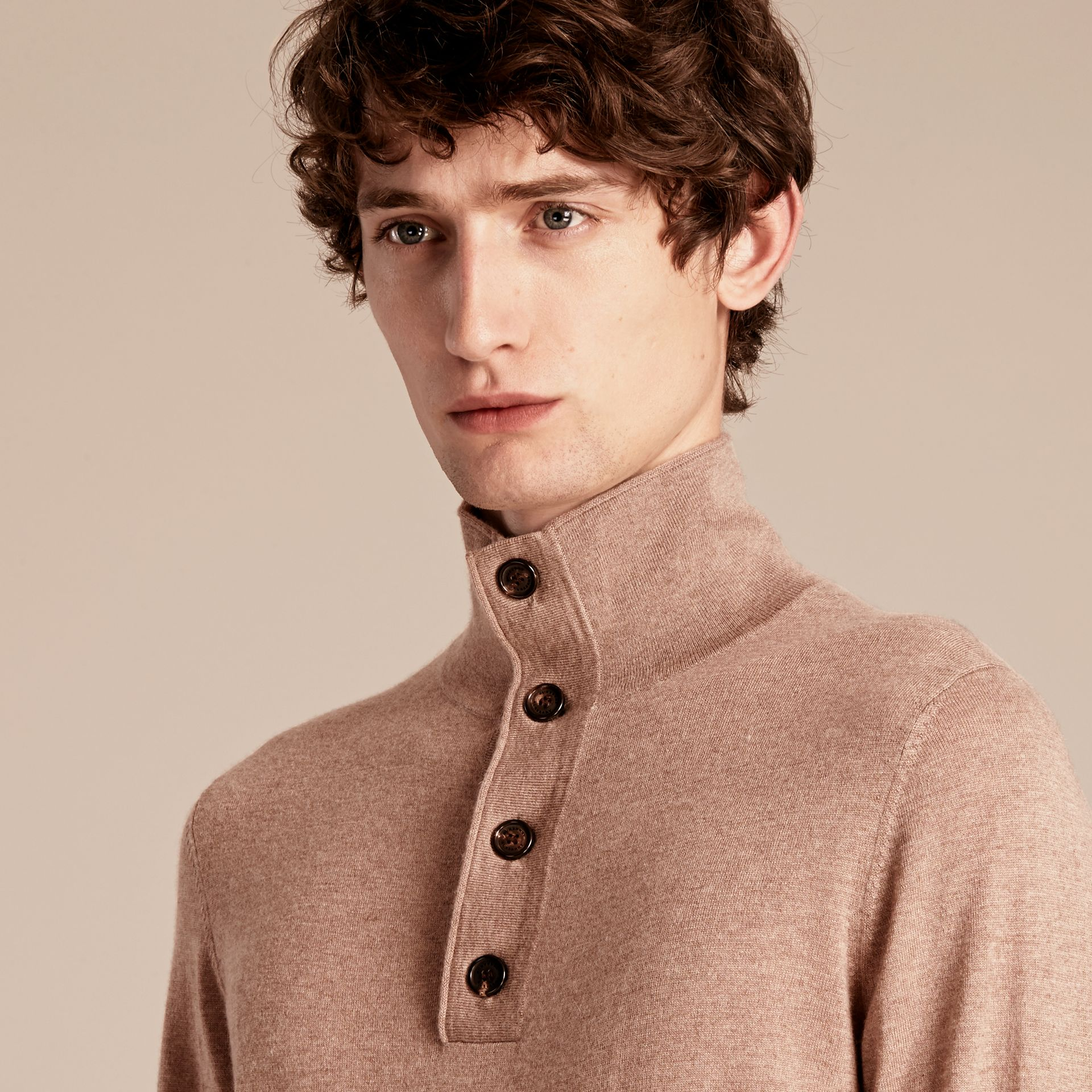 Stone Funnel Neck Cashmere Silk Sweater - gallery image 5