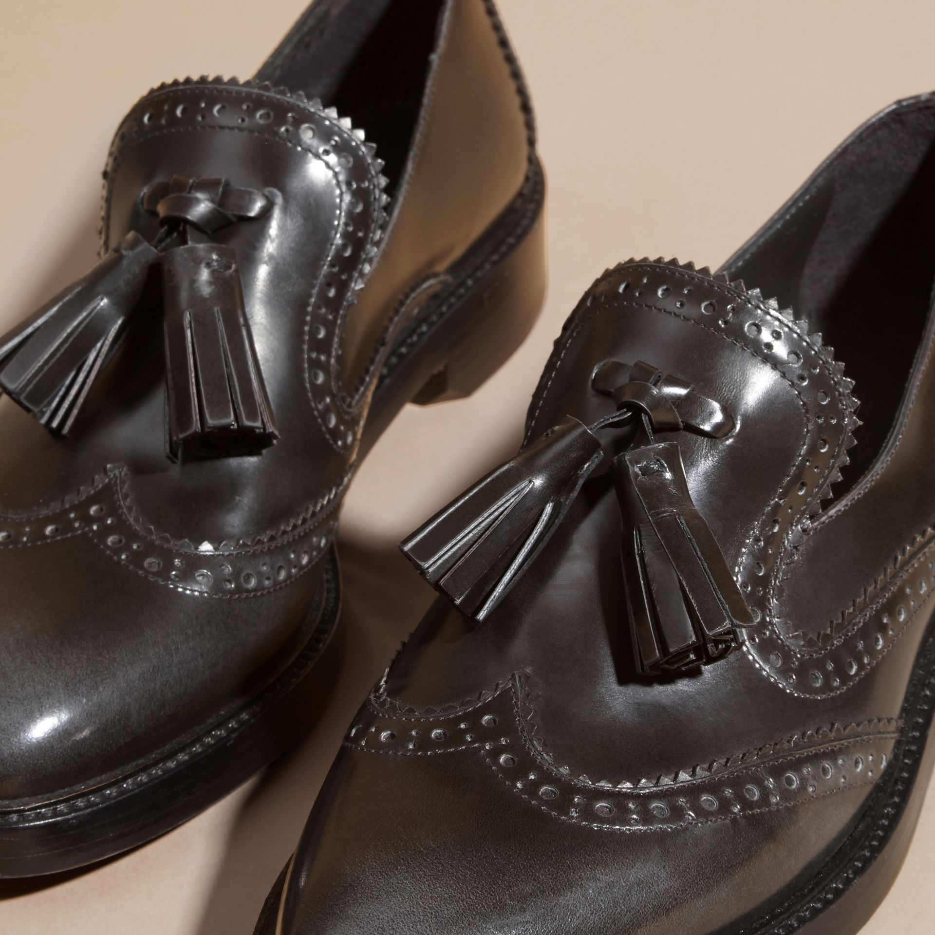 Ink grey Dégradé Tassel Detail Leather Loafers Ink Grey - gallery image 5