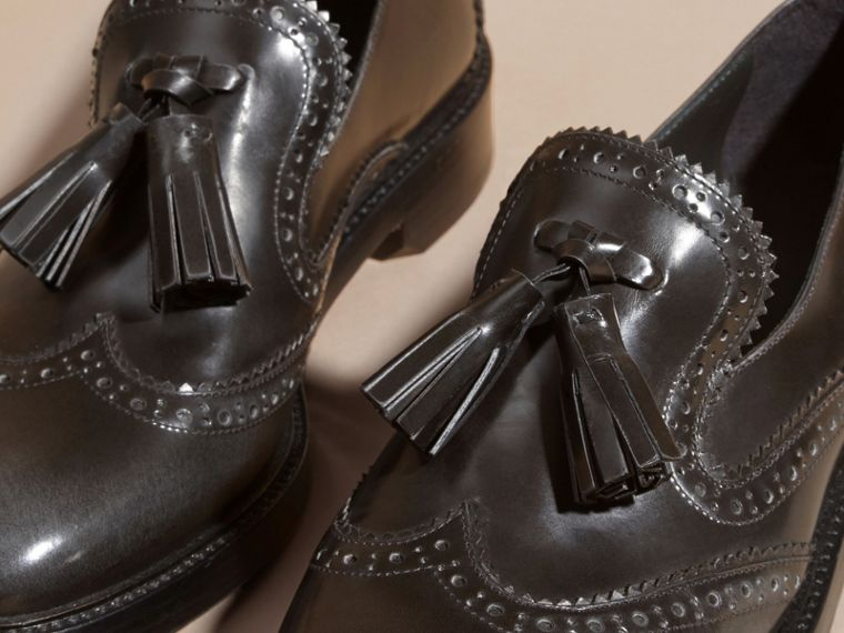 Ink grey Dégradé Tassel Detail Leather Loafers Ink Grey - cell image 4