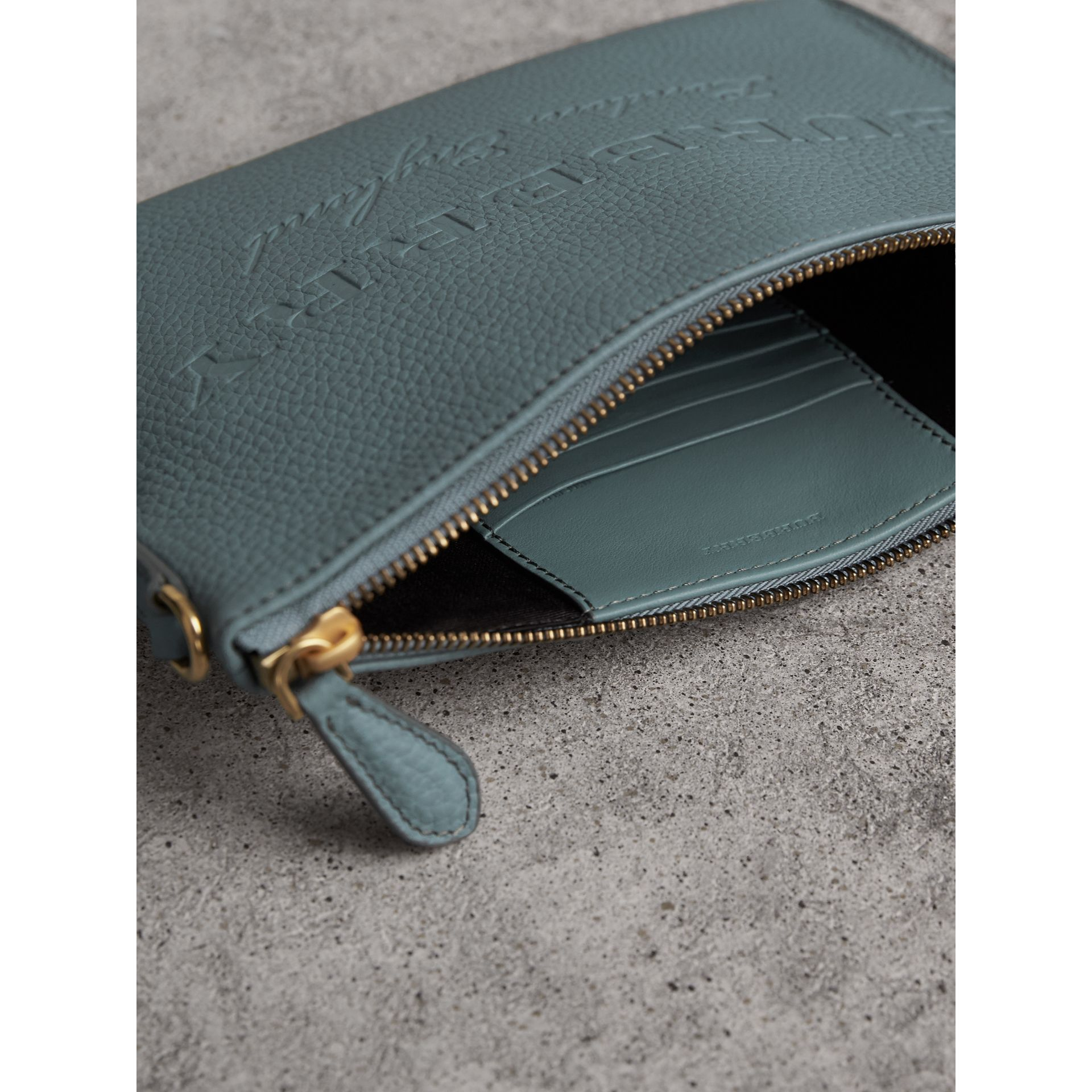 Embossed Leather Clutch Bag in Dusty Teal Blue - Women | Burberry United Kingdom - gallery image 6
