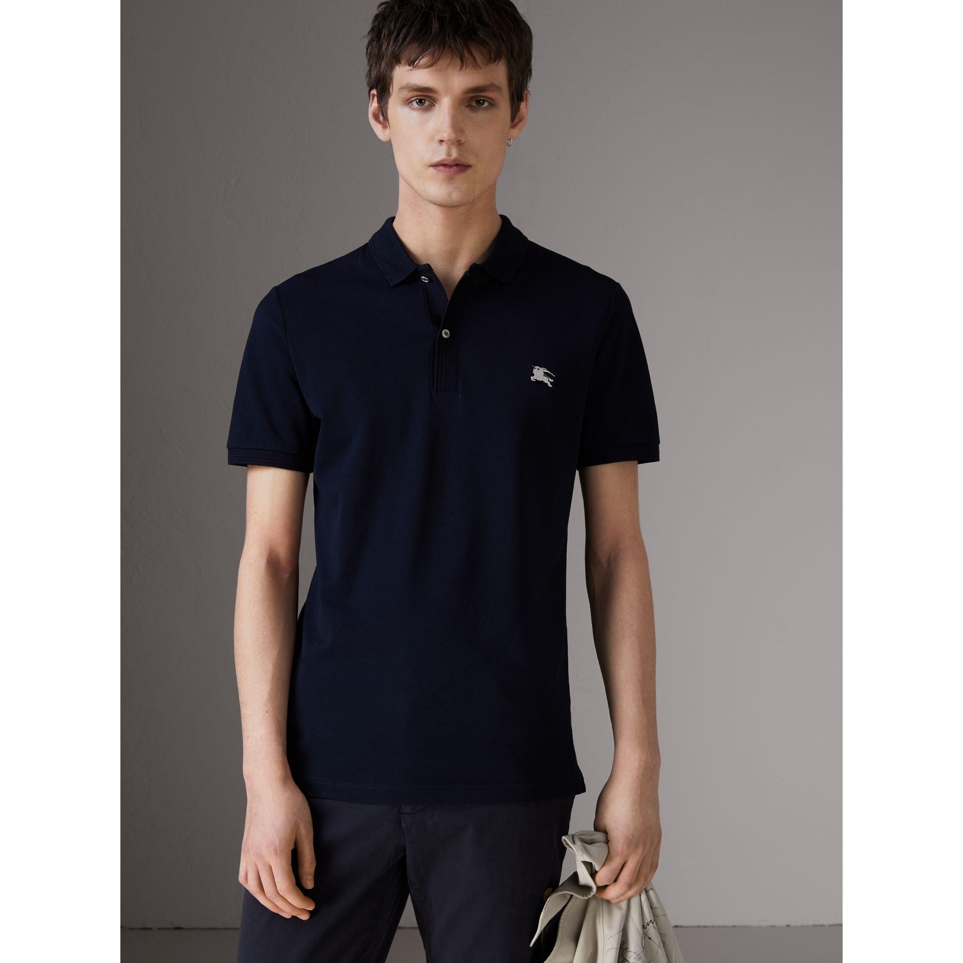 Cotton Piqué Polo Shirt in Navy - Men | Burberry - gallery image 0