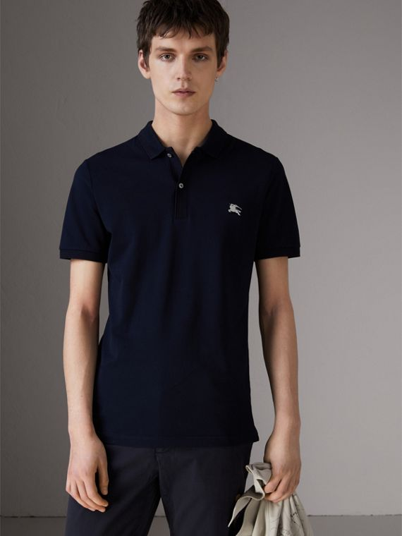 Cotton Piqué Polo Shirt in Navy