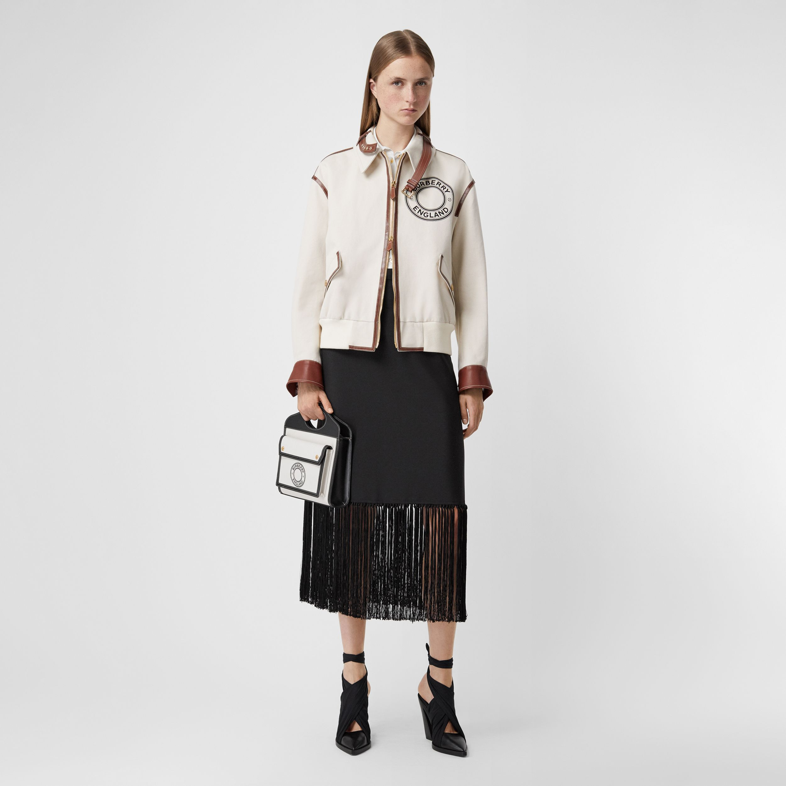 Fringed Mohair Wool A-line Skirt in Black - Women | Burberry - 1