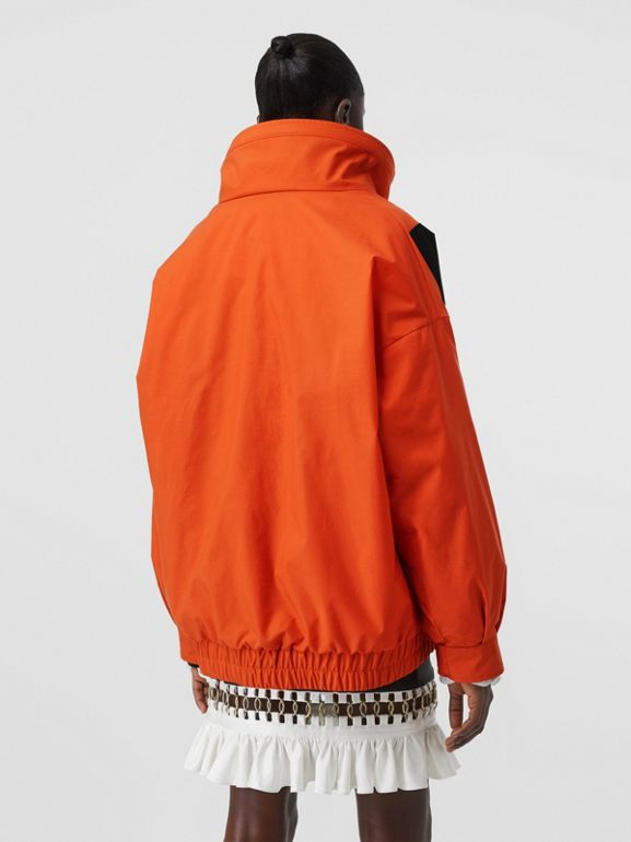 Panelled Nylon Track Jacket with Detachable Warmer in Bright Orange - Women | Burberry - cell image 1