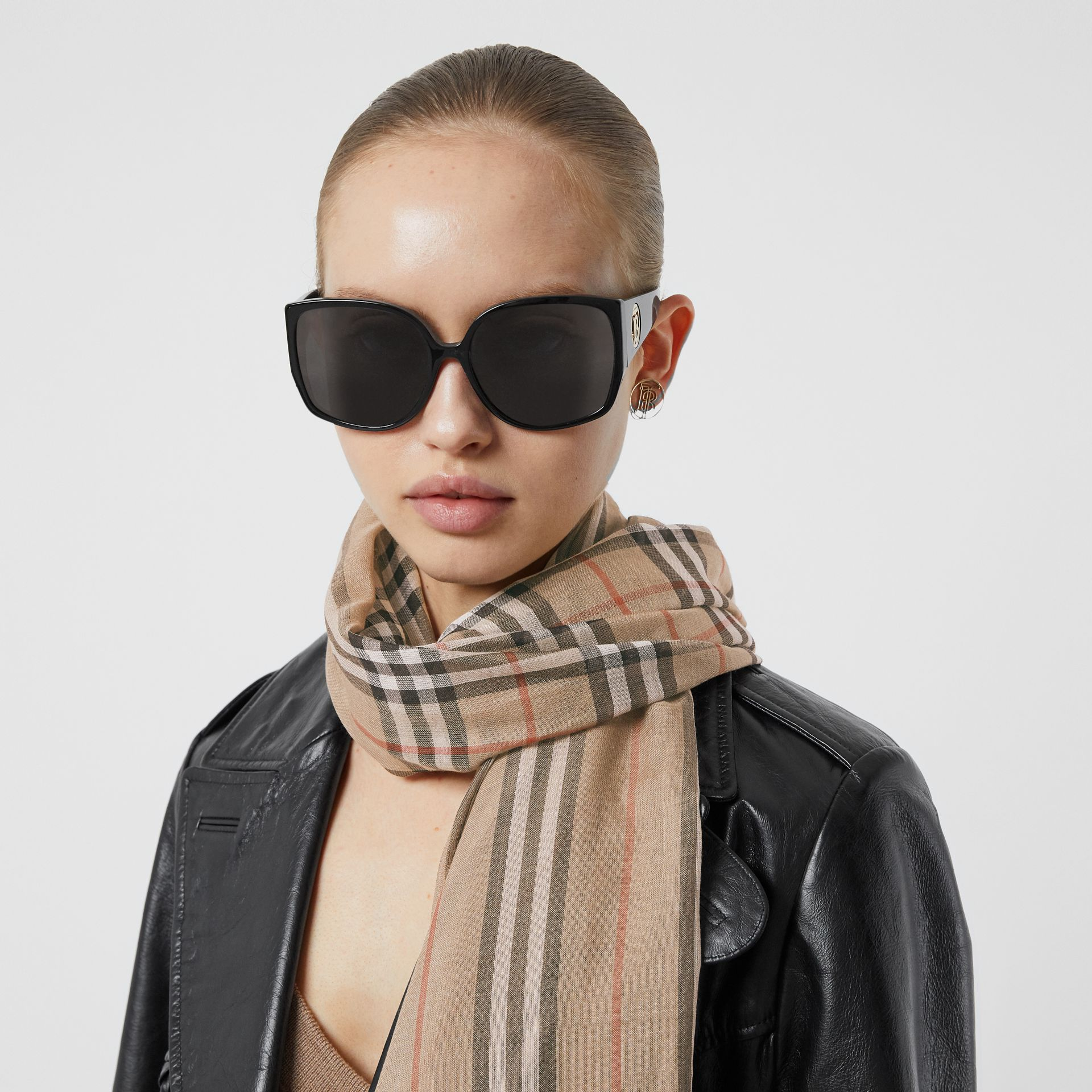 Icon Stripe and Vintage Check Wool Silk Scarf in Archive Beige | Burberry - gallery image 2