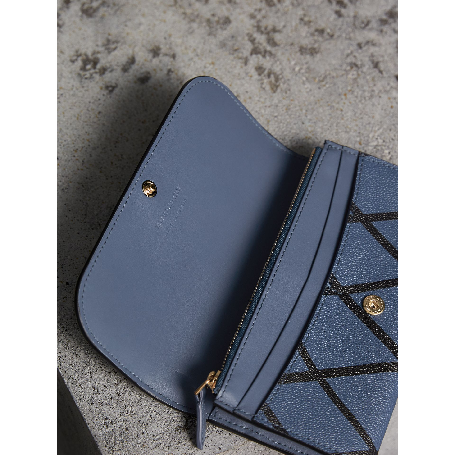 Trompe L'oeil Print Leather Continental Wallet in Steel Blue - Women | Burberry - gallery image 5