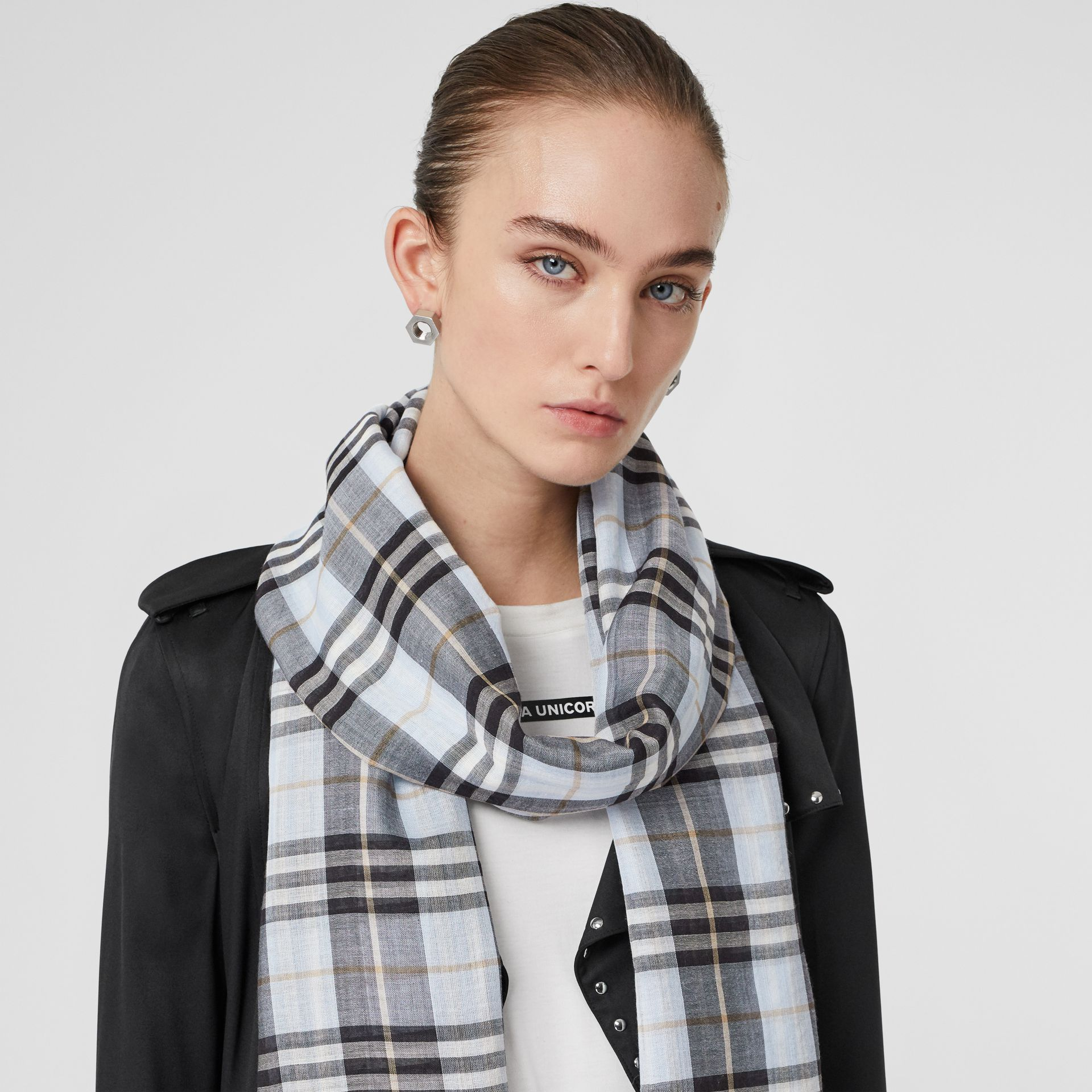 Vintage Check Lightweight Wool Silk Scarf in Pale Blue | Burberry - gallery image 2