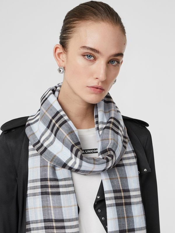 Vintage Check Lightweight Wool Silk Scarf in Pale Blue | Burberry Hong Kong S.A.R - cell image 2