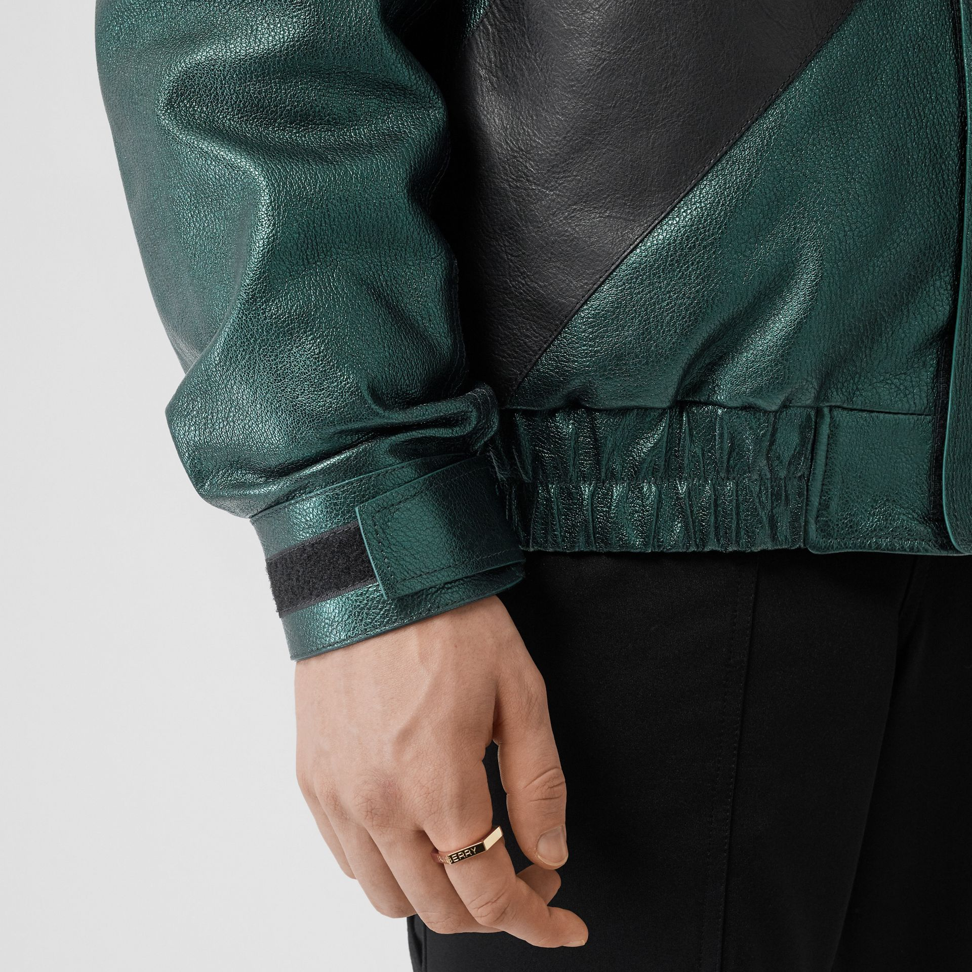 Metallic Leather Jacket with Detachable Warmer in Green - Men | Burberry - gallery image 5