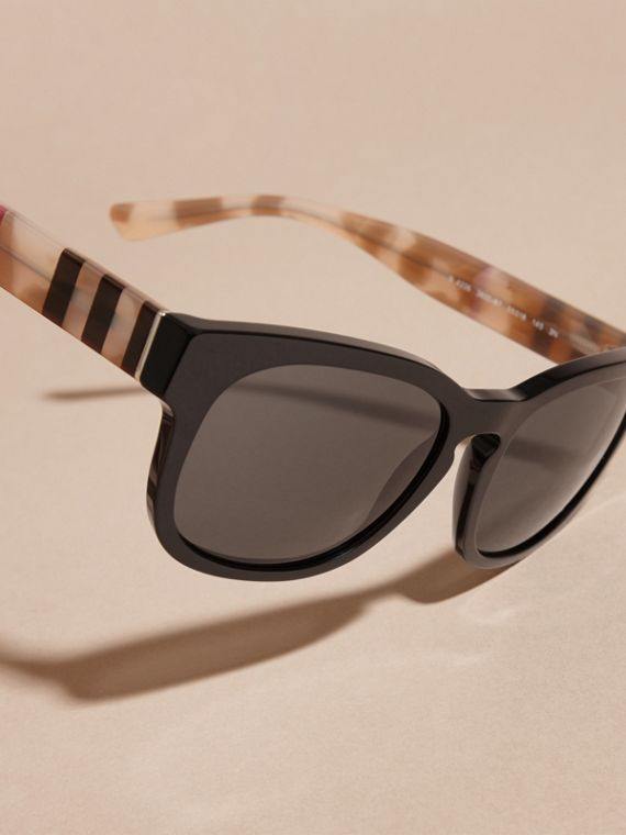 Black Check and Camouflage Detail Square Frame Sunglasses Black - cell image 2