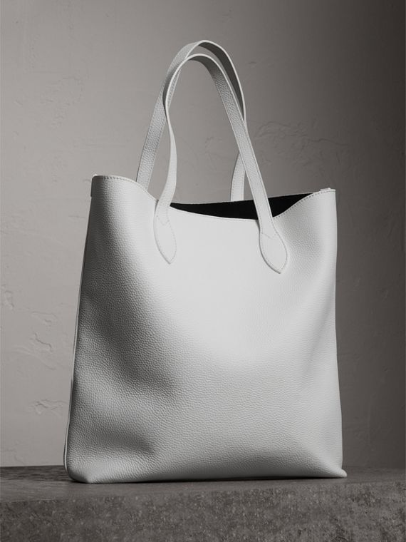 Medium Embossed Leather Tote in Chalk White | Burberry United States - cell image 2