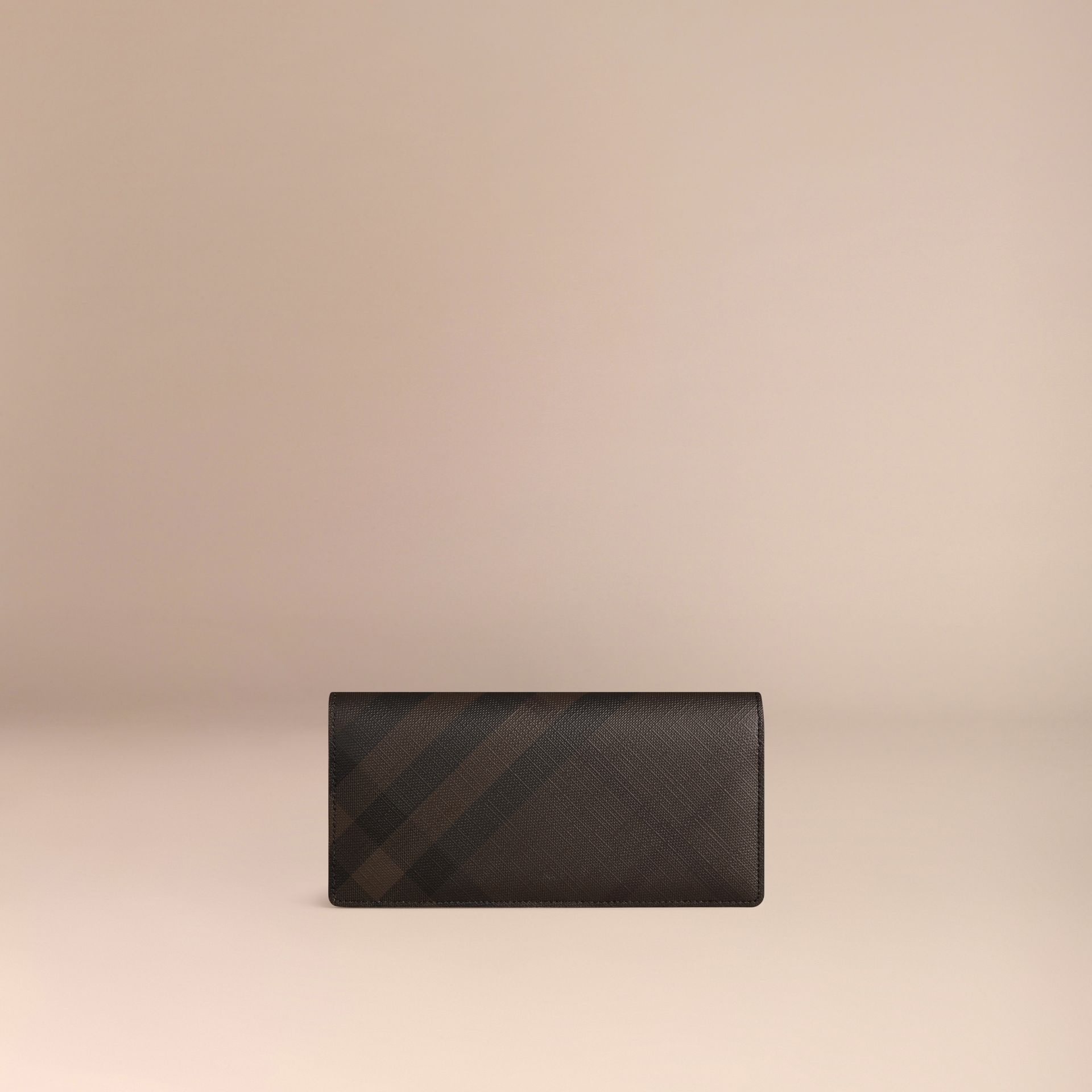 London Check and Leather Continental Wallet in Chocolate/black - gallery image 3