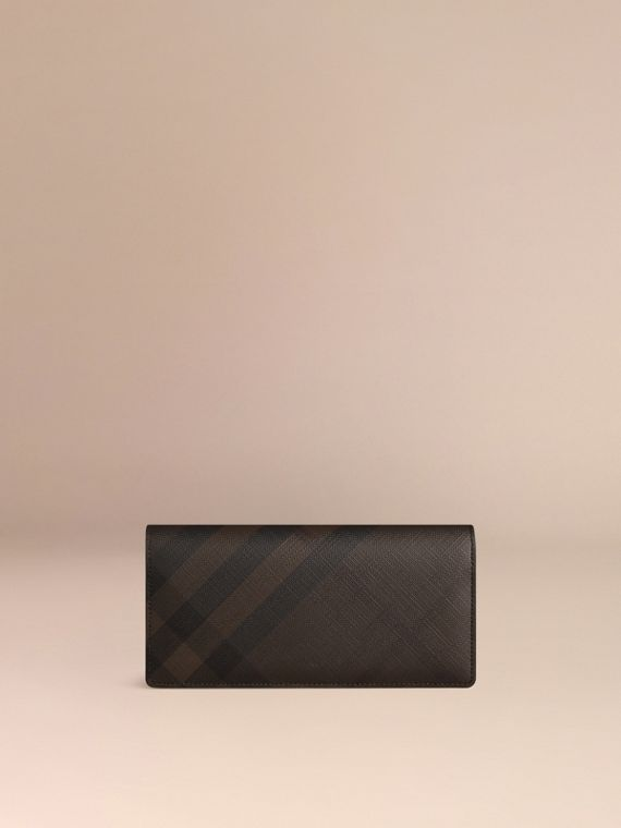 London Check and Leather Continental Wallet in Chocolate/black - Men | Burberry - cell image 2