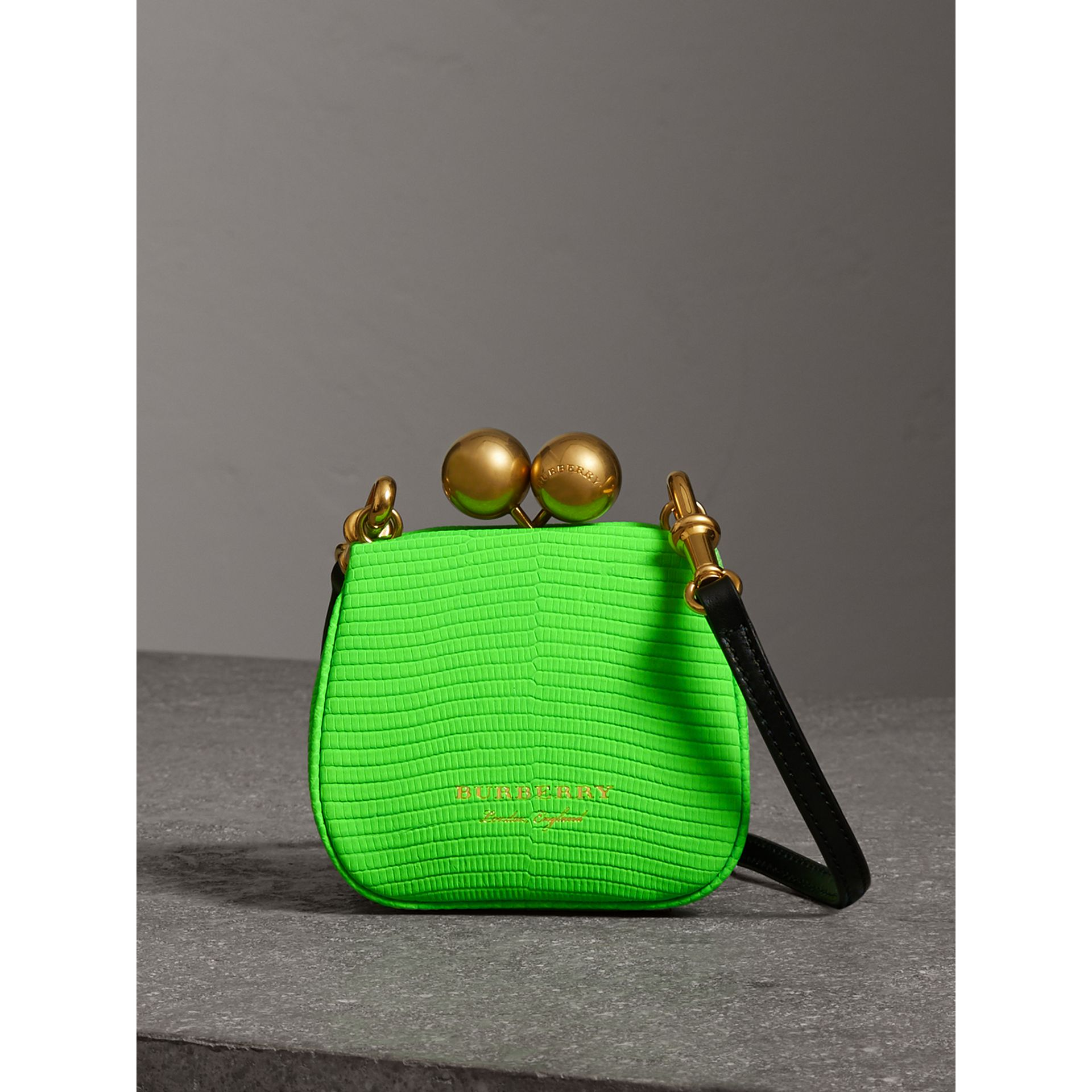 Mini Two-tone Lizard Metal Frame Clutch Bag in Neon Green - Women | Burberry - gallery image 0