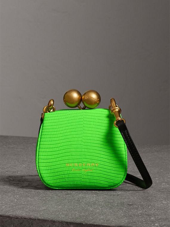 Mini Two-tone Lizard Metal Frame Clutch Bag in Neon Green