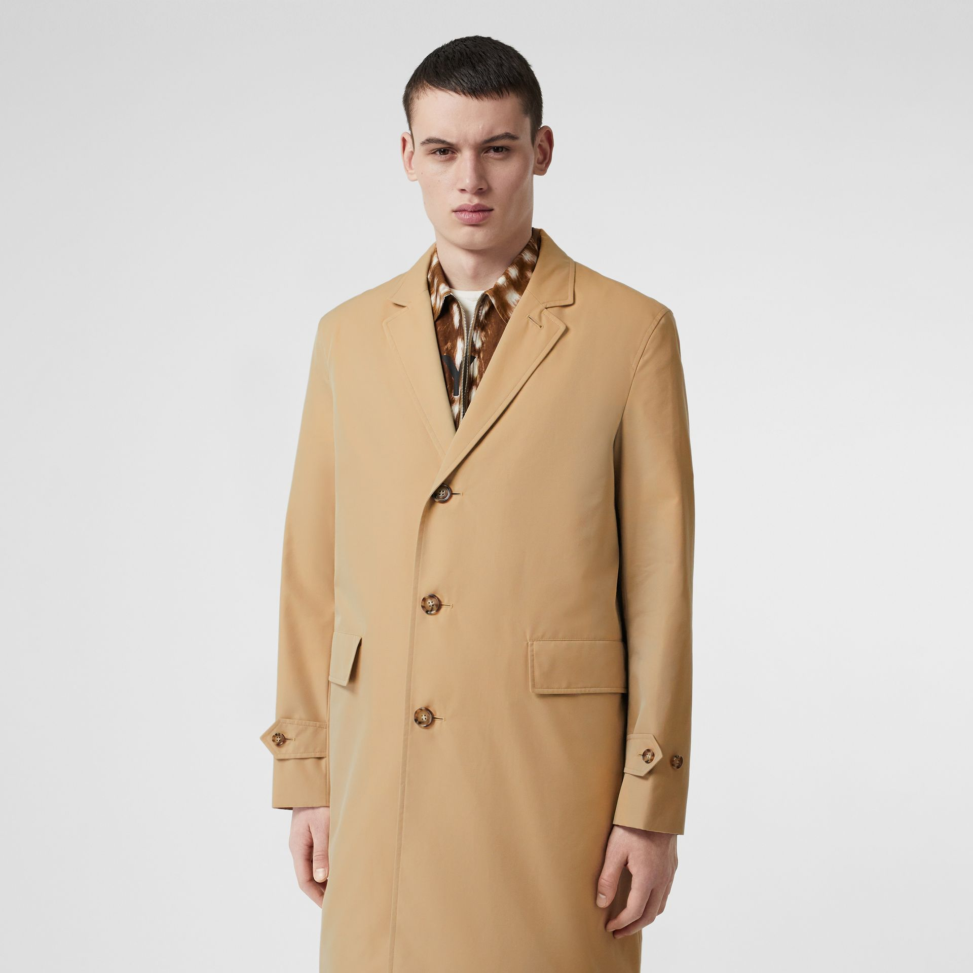 Cotton Gabardine Car Coat in Honey - Men | Burberry Hong Kong - gallery image 5