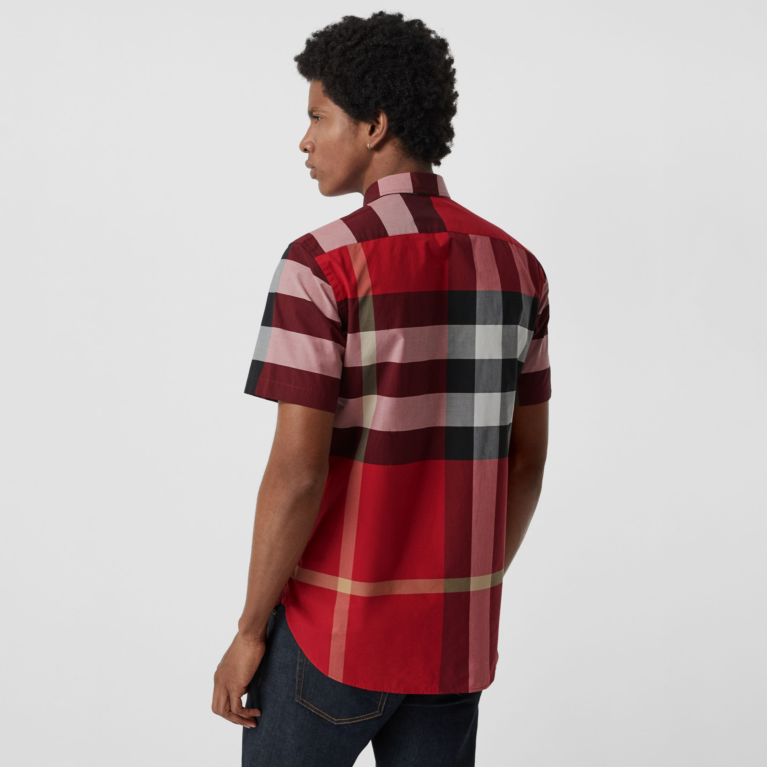 Short-sleeve Check Stretch Cotton Shirt in Parade Red - Men | Burberry - 3