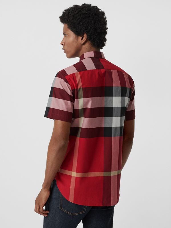 Short-sleeve Check Stretch Cotton Shirt in Parade Red - Men | Burberry - cell image 2