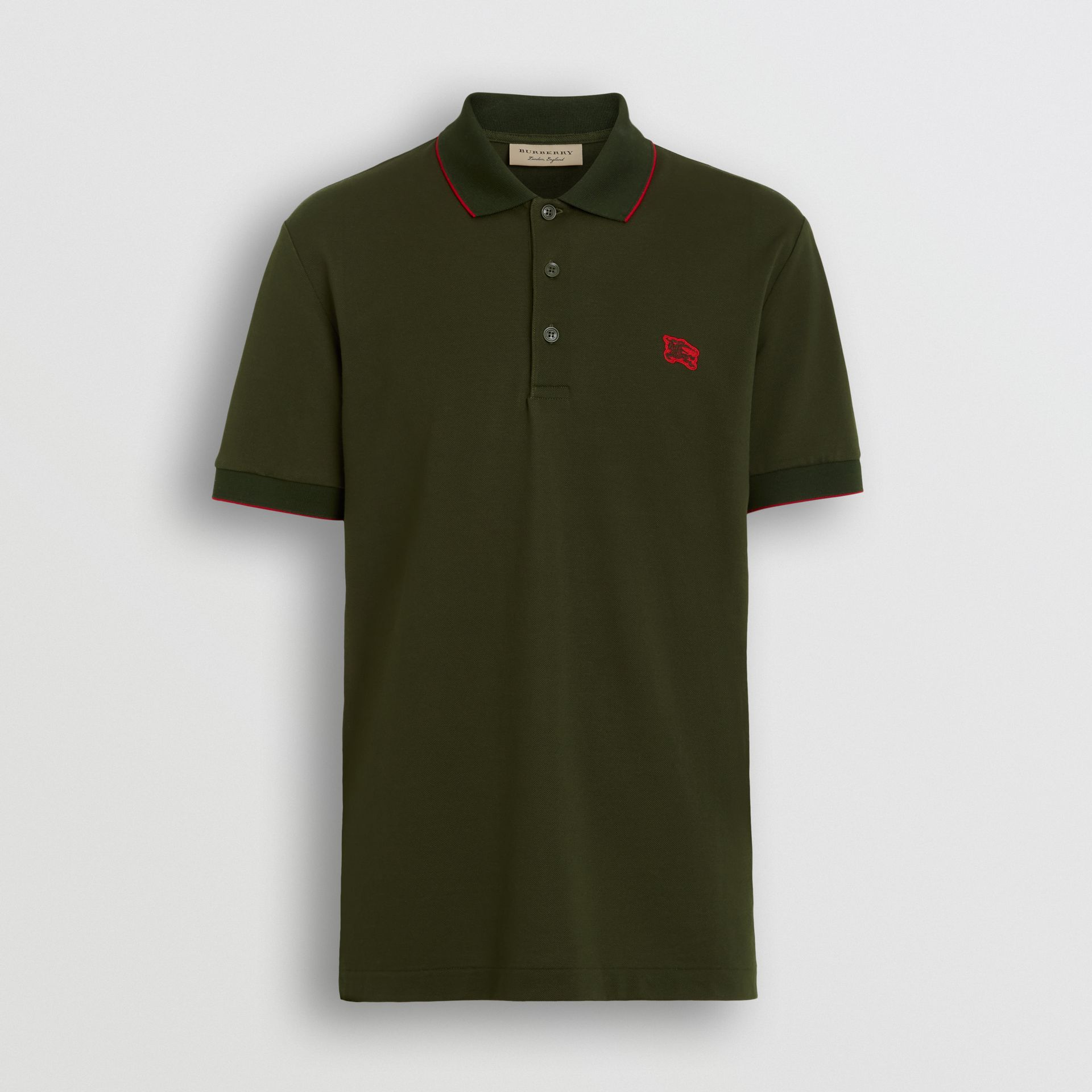 Tipped Cotton Piqué Polo Shirt in Dark Antique Green - Men | Burberry Australia - gallery image 3