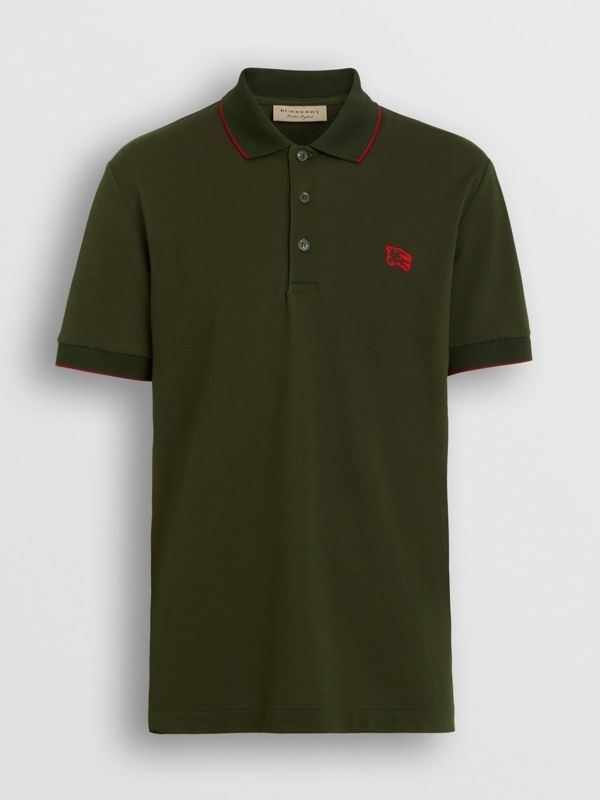 Tipped Cotton Piqué Polo Shirt in Dark Antique Green - Men | Burberry Canada - cell image 3