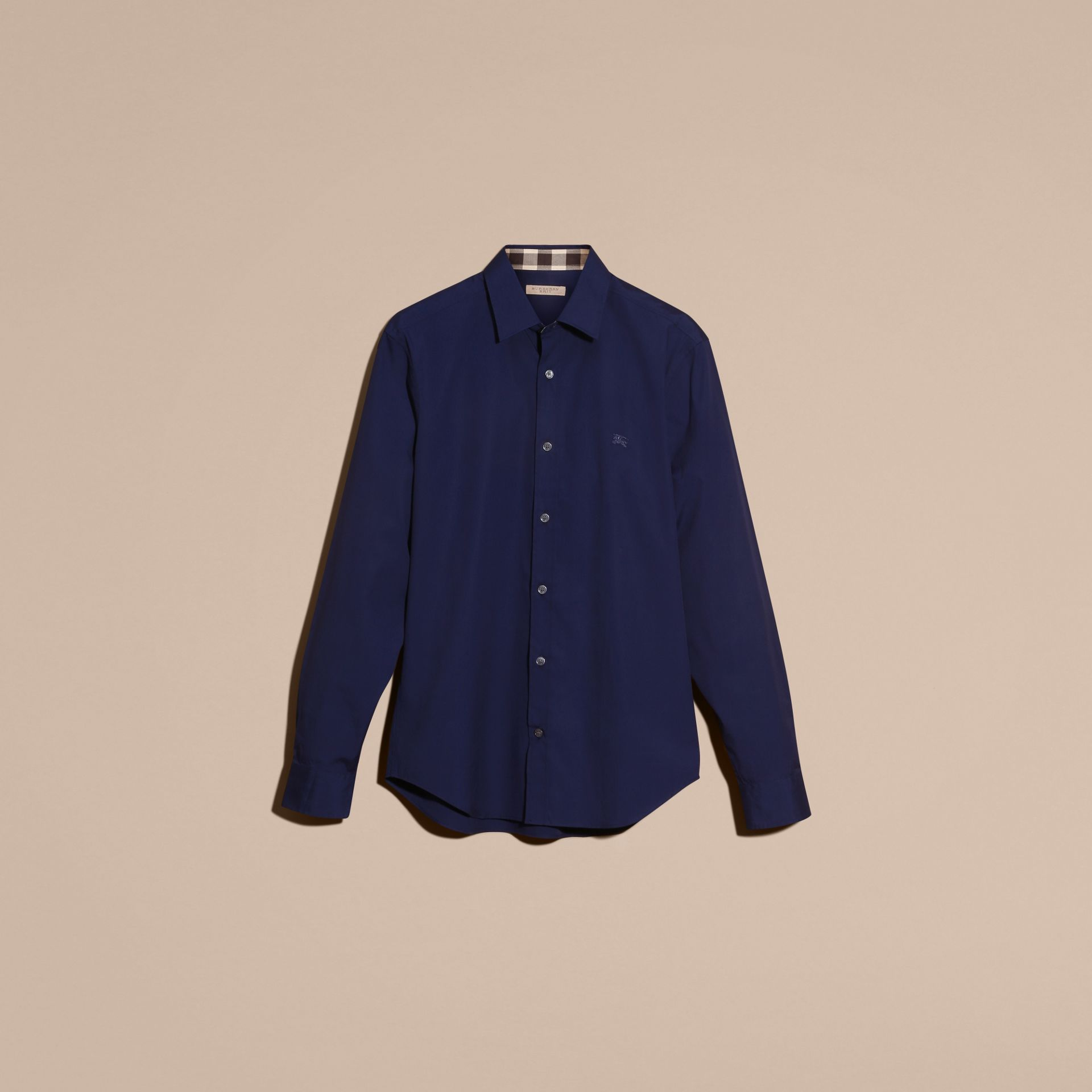 Indigo blue Check Detail Stretch Cotton Poplin Shirt Indigo Blue - gallery image 3