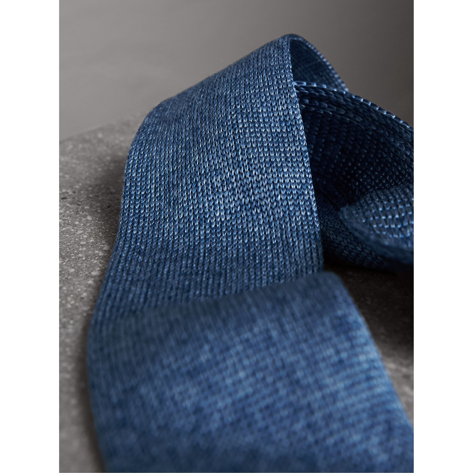Slim Cut Knitted Silk Tie in Petrol Blue - Men | Burberry United Kingdom - gallery image 2