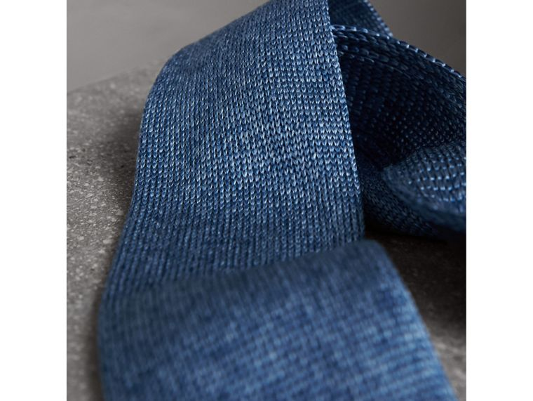 Slim Cut Knitted Silk Tie in Petrol Blue - Men | Burberry United Kingdom - cell image 1